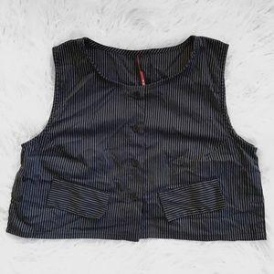 Sleeveless Pinstripe Crop Vest